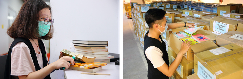 挑書人團隊的合作無間,讓更多書籍有機會被重新上架。(攝影/Carter)