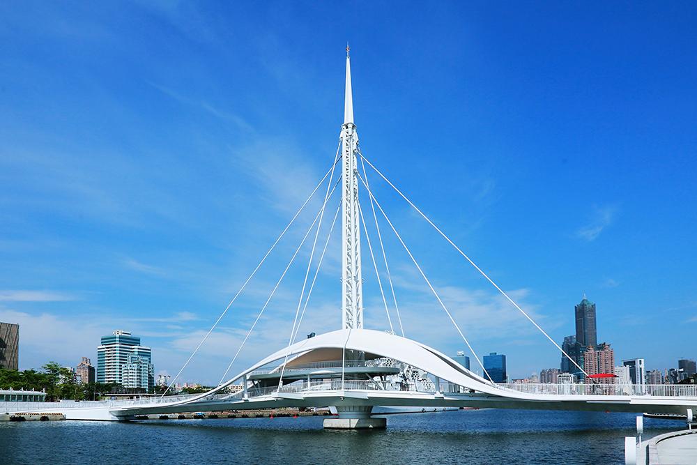港橋的設立加速串接輕軌、海音中心、駁二及蓬萊商業區的連結。(攝影/Carter)