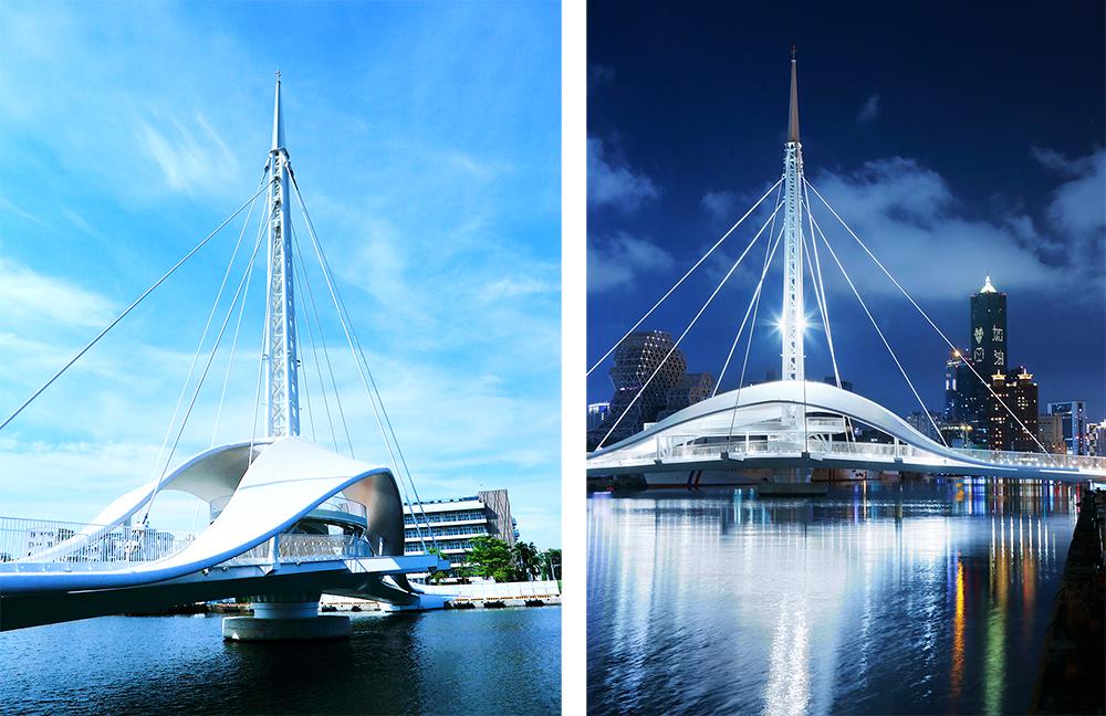 走在駁二藝術特區的碼頭旁,可以看到水面矗立一座白色又兼具設計感的大港橋。(攝影/Carter)