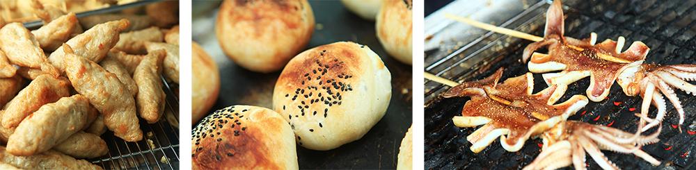 (左)火旗魚黑輪是老街上最受歡迎的小吃,幾乎人手一串。(中)烤包子的內餡有不同的調味。(右)現烤小卷搭配獨特醬料,口味迷人。