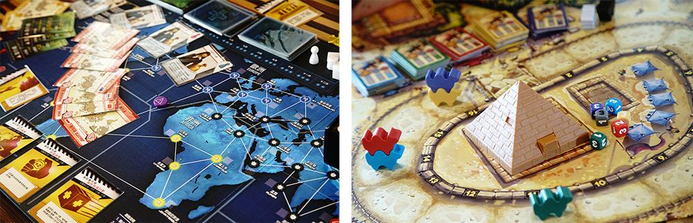 (左)「瘟疫危機」正好趕搭目前時事議題。(右)「駱駝大賽」是2014德國年度最佳遊戲。(攝影/曾信耀)