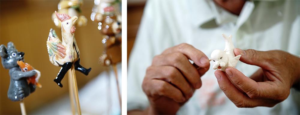陳義進靜靜雕塑手中麵糰,雙手30多年來不曾停歇。(攝影/曾信耀)