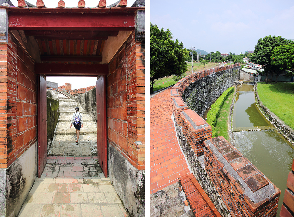 趁著左營舊城東門口的護城河通水,不妨緩步沿著城邊走走吧!(攝影/Carter)