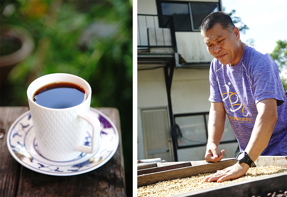 林老師的台灣咖啡自種自烘,為萬山部落咖啡打出名號。(攝影/曾信耀)