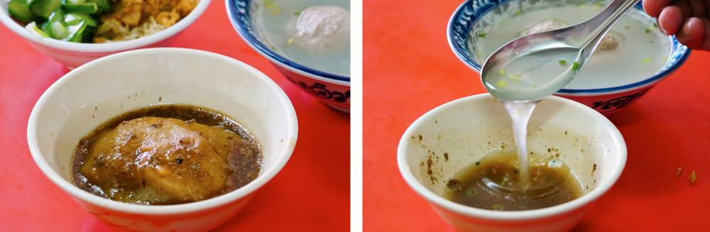 肉圓完食後,碗中殘餘的肉燥滷汁加入大骨清湯,是熟客才懂的吃法。(攝影/Cindy)