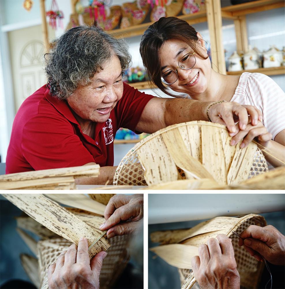 在孫阿姨的指導下,一步一步學習縫竹籜,才知道每頂手工斗笠都不容易。(攝影/曾信耀)