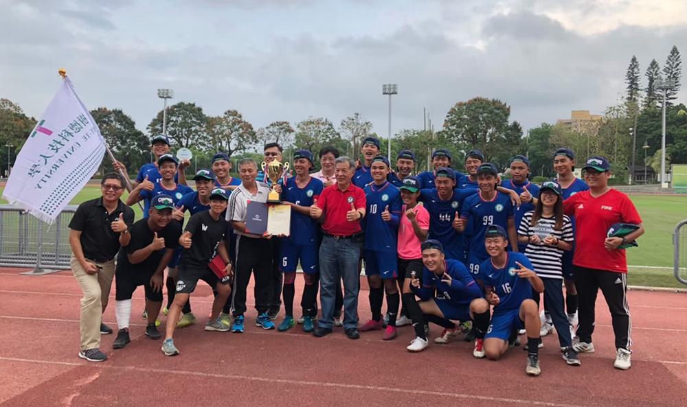 樹德科大足球隊成軍三年,拿下今年大專足球運動聯賽第二級冠軍。(圖片提供/簡盟恩)