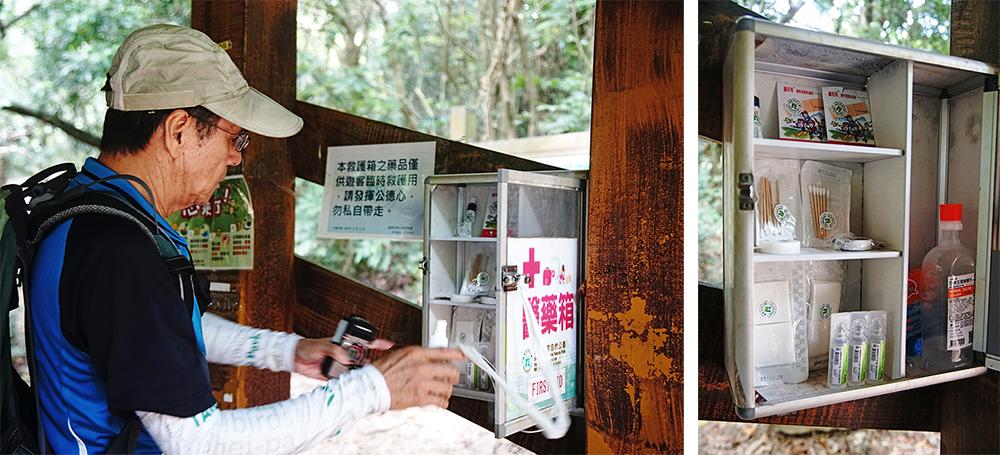 補充休息區醫藥箱內的藥品也是巡山員的工作之一。(攝影/曾信耀)