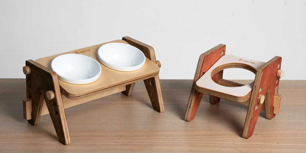 「Hoja, Hoja可調式寵物餐桌」是第二款募資設計商品,可調節碗架高低及角度,結合「重視實用」及「簡約美感」的Mid-Century Modern設計,加入客製元素,能自由搭配餐桌零件的顏色。(圖