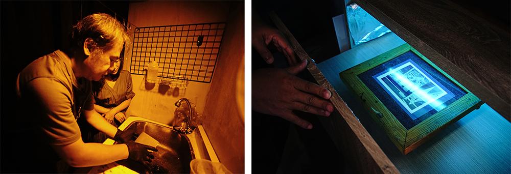拍好的照片需把握時間進暗房顯影,一切動作都在底片保持濕潤的情況下完成。(攝影/曾信耀)