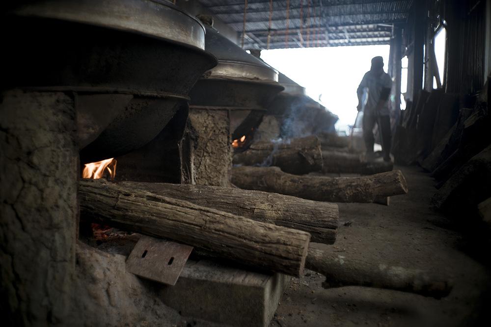 使用龍眼木柴燒24小時的年糕,一開鍋就有撲鼻的龍眼香。(照片提供/滿金商行)