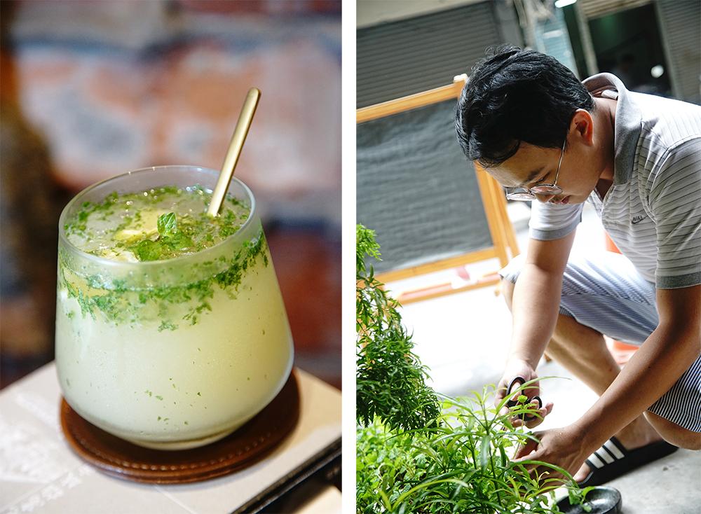 從門口魚菜共生的系統摘取新鮮薄荷,調一杯蘭姆酒香濃郁的Mojito。(攝影/曾信耀)