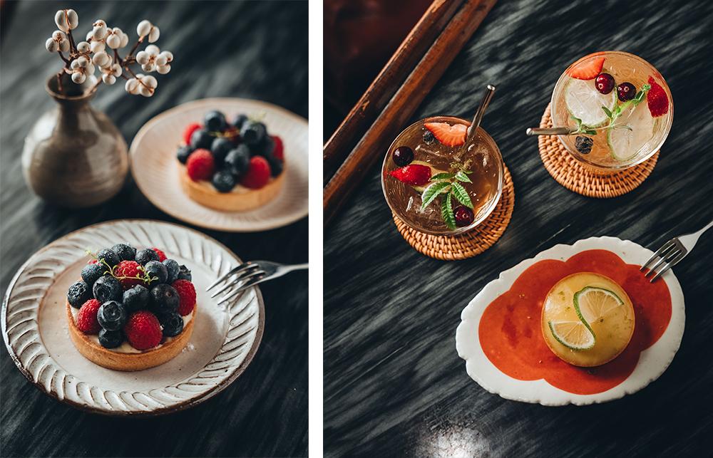 (左) 莓果塔以卡士達餡搭配飽滿藍莓及豔紅覆盆子,酸甜味覺誘人食慾。(右)屏東在地檸檬做成凝乳內餡,搭配酥脆塔皮,口感酸甜清爽。(攝影/張晉瑞)