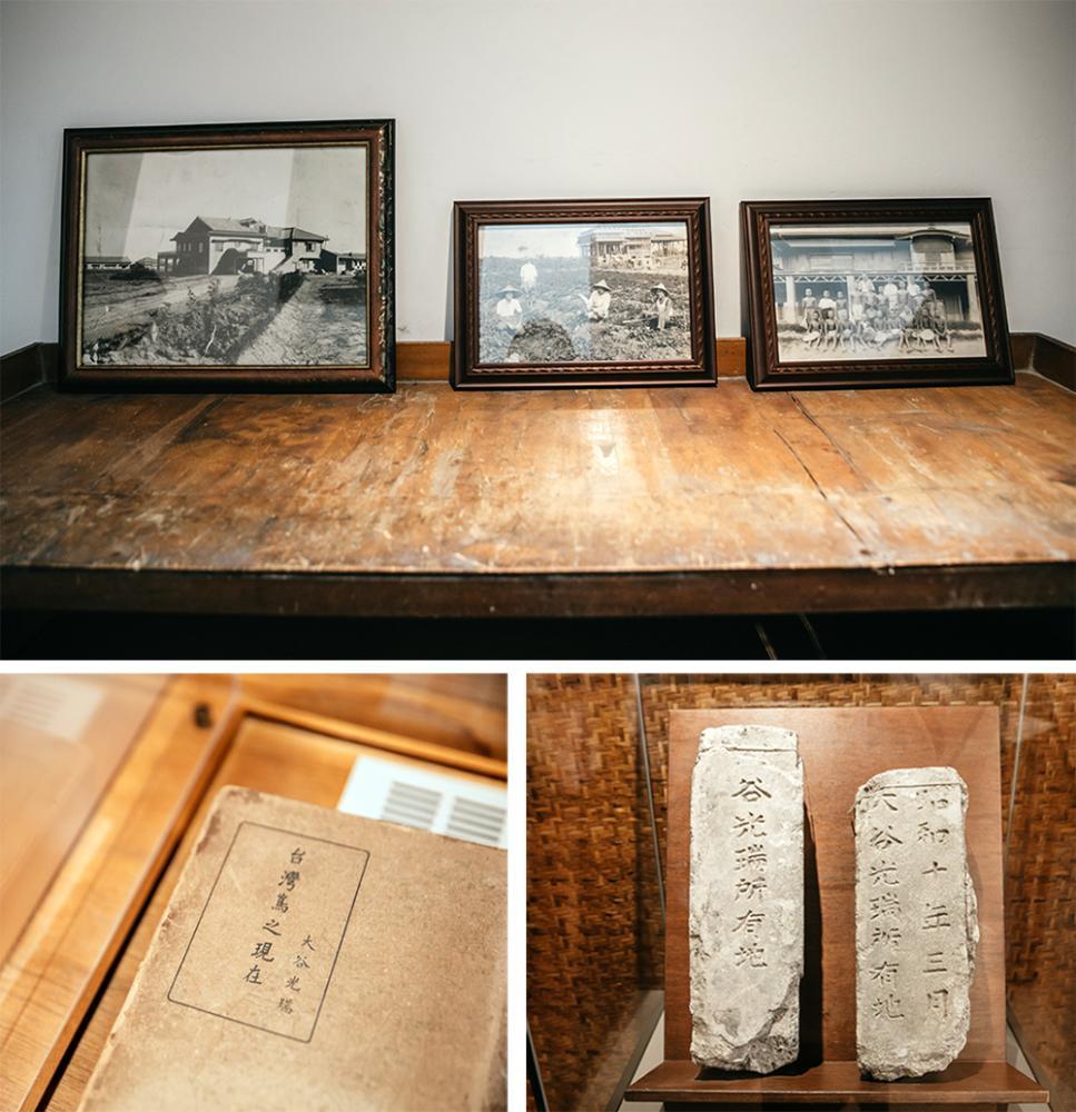園內展示「大谷農園」的舊照,以及屋主大谷光瑞著作、所有地界碑等相關文獻資料。(攝影/蔡嘉瑋)