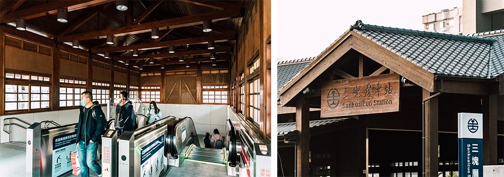 採木構造的三塊厝車站與日治時期留下的木造舊站相呼應。(攝影/陳建豪)