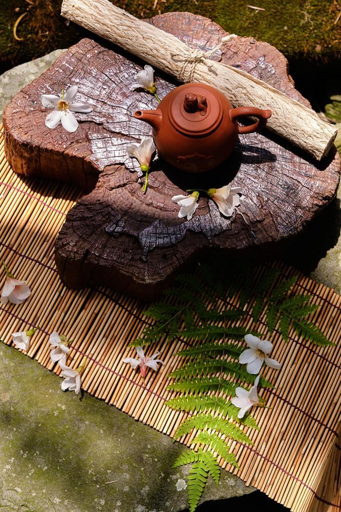 以月桃、山棕等部落常使用的植物設計茶席,融入布農族文化與自然氛圍。(攝影/林衍億)
