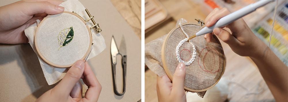刺繡基本技法,如結粒繡、緞面繡、長短繡,都像在畫畫的過程。(攝影/周治平)