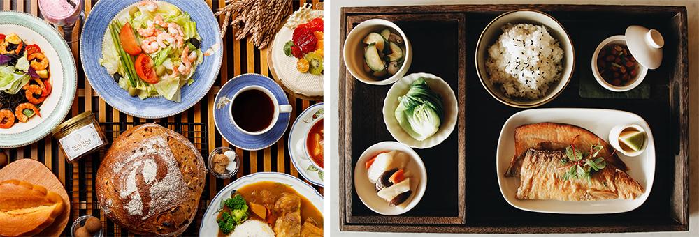 (左)帕莎蒂娜別具特色的麵包、甜點、湯品到歐陸輕食,為到館的民眾們帶來了味蕾上的驚喜。(圖片提供/帕莎蒂娜烘培坊)(右)抱一茶屋透過細微的藝術轉化、結合臺灣本土食材,研發新一代的「小辦桌」料理。(圖片