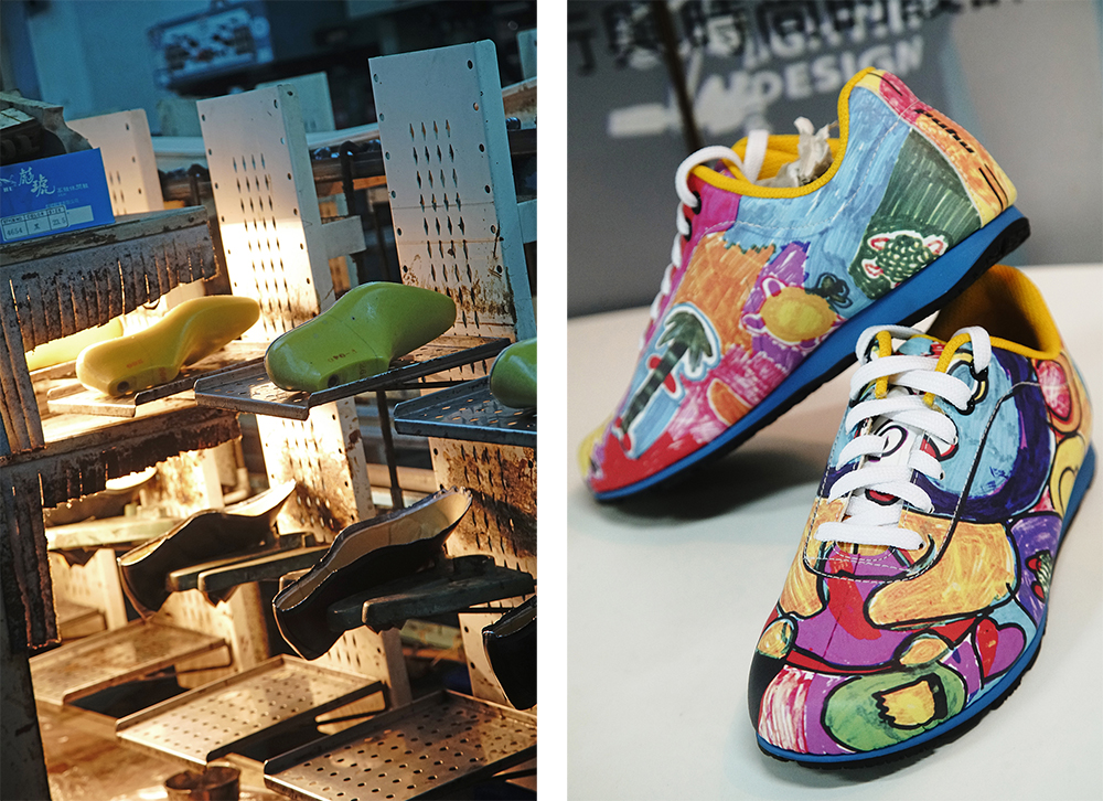 (左)彪琥台灣鞋故事館。(右)主題設計鞋的運用廣泛,為彪琥帶來了不少訂單。