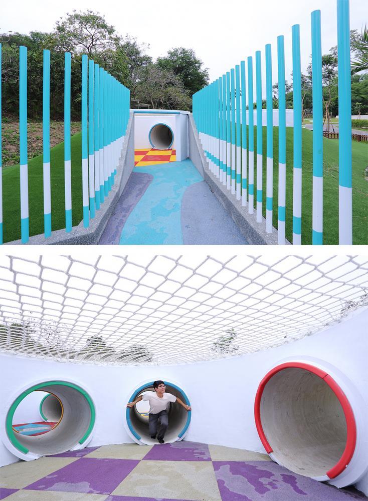 色彩繽紛的涵管迷宮,由下水道涵管銜接拼湊組成,讓孩子們鑽進鑽出創意闖關。(攝影/Carter)
