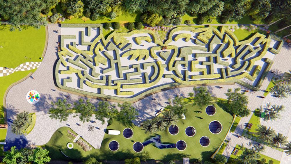綠籬迷宮為一對鴛鴦造型,孩子們在迷宮花園中探索冒險,與自然環境產生互動。(圖片提供/高雄市政府觀光局)