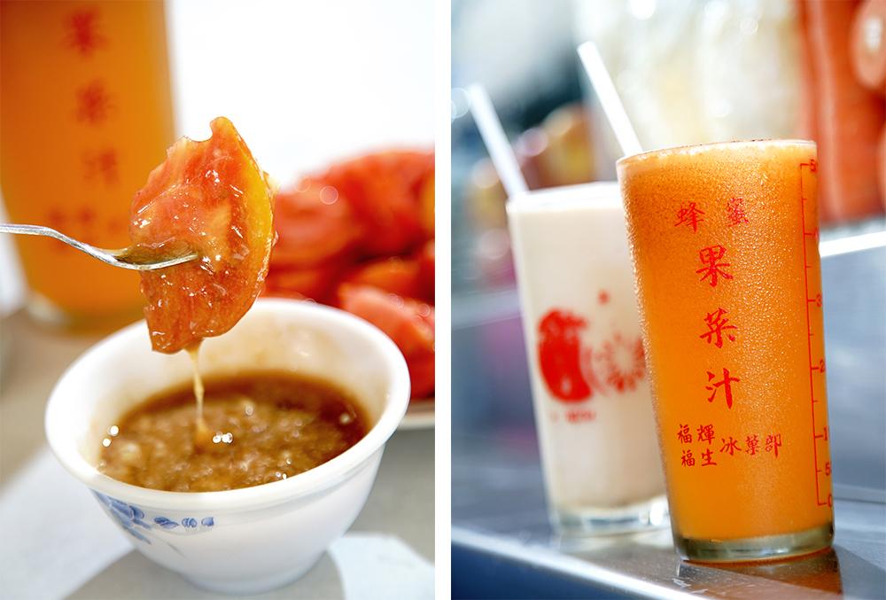 (左)番茄切盤搭配混和薑泥、甘草粉、糖粉與醬油膏的沾醬,在南部一定要吃這一味。(右)復古玻璃杯有蜂蜜果菜汁的字樣,比很多年輕阿兵哥年紀都還大。(攝影/曾信耀)