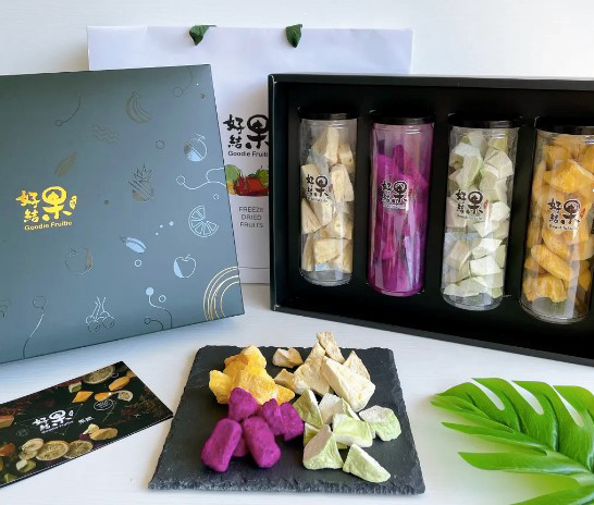 「禮輕情重」禮盒可一次品嘗到火龍果、芭樂、芒果和鳳梨的味道。(圖片提供/一鳴生技農園「好結果」)