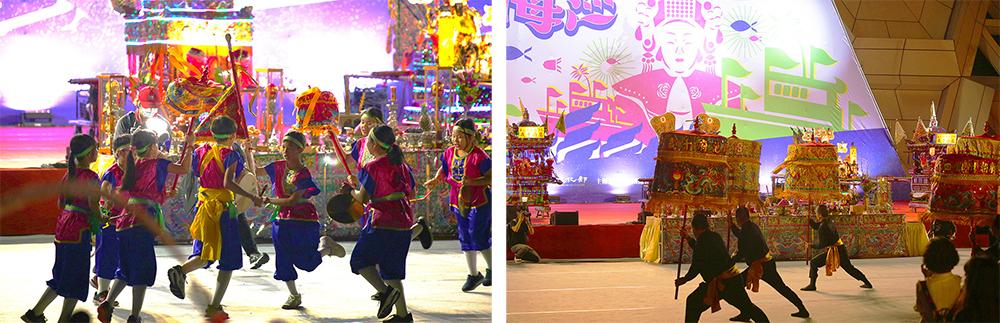 (左)高雄市光榮國小跳鼓陣。(右)當晚藝陣表演由呂柏達娘傘團打頭陣。(攝影/楊為仁)