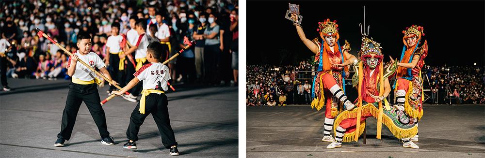 (左)高雄市茄萣國小宋江陣。(右)「振宗藝術團」女官將首演出。(攝影/小宇)