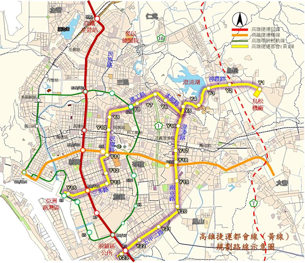 高雄市捷運黃線規劃路線圖。(圖片提供/高市府捷運工程局)