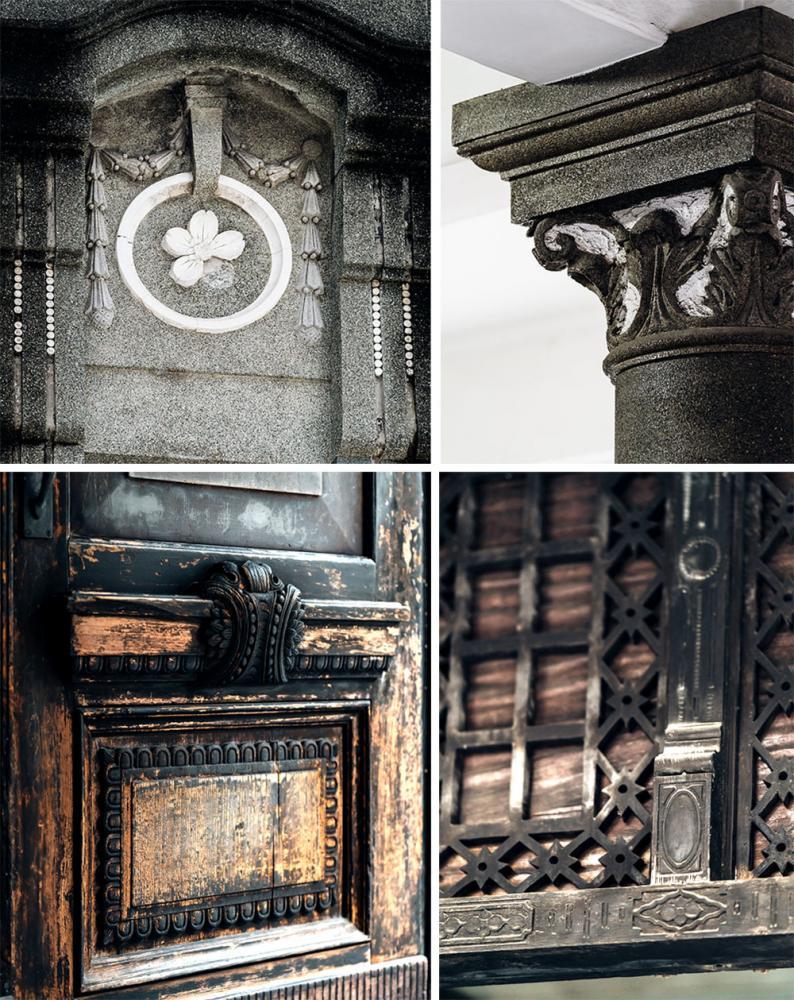 大門與木作隔間皆雕刻精美花紋,雖久經歲月卻不減風華。(攝影/陳建豪)