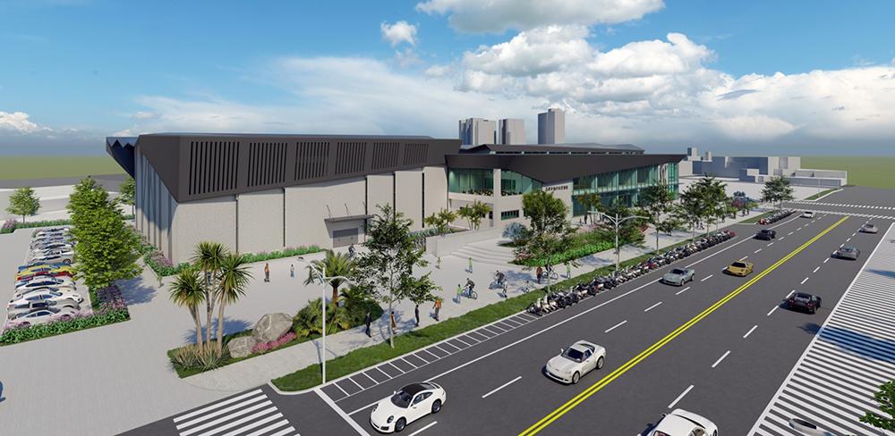 楠仔坑運動中心以楠梓游泳池原址打造新式運動中心,預計2024年啟用。(圖片提供/高雄市政府運發局)
