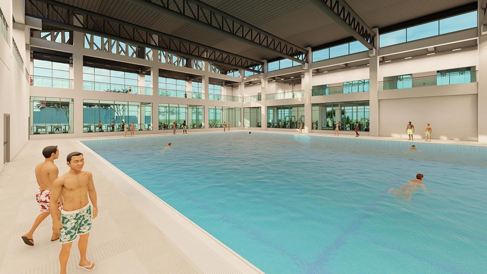 楠仔坑運動中心內將有50公尺水道的室內溫水游泳池。(圖片提供/高雄市政府運發局)