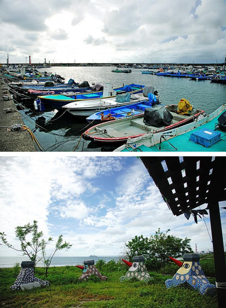 以永新漁港的防波堤與燈塔為背景,呈現寧靜優美的海灣景色。(攝影/曾信耀)