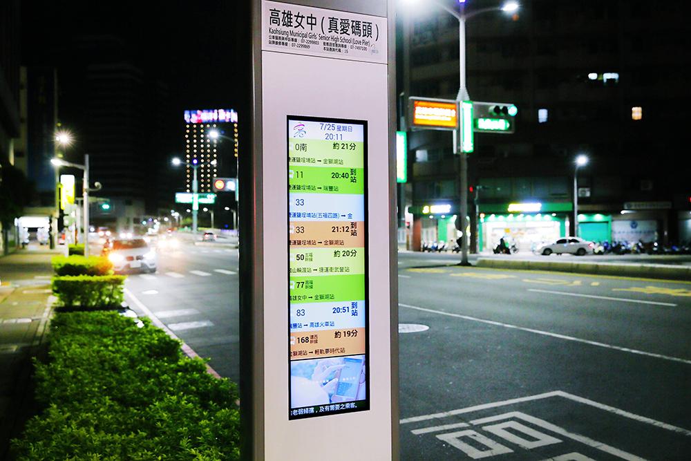 智慧型站牌一次能同時顯示3條以上公車路線動態資訊,訊息顯示更即時完整。(攝影/Carter)