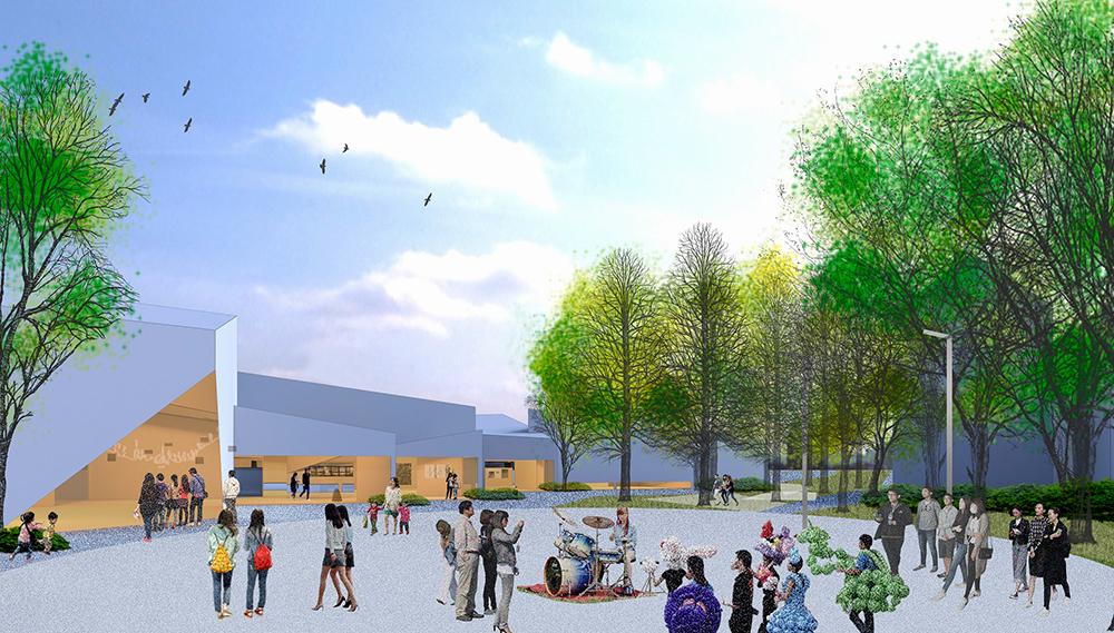 呈帶狀的「內惟藝術中心」長達168公尺,與即將建設之輕軌C21A站、立體停車場僅3分鐘步行距離。(圖片提供/高雄市立美術館)