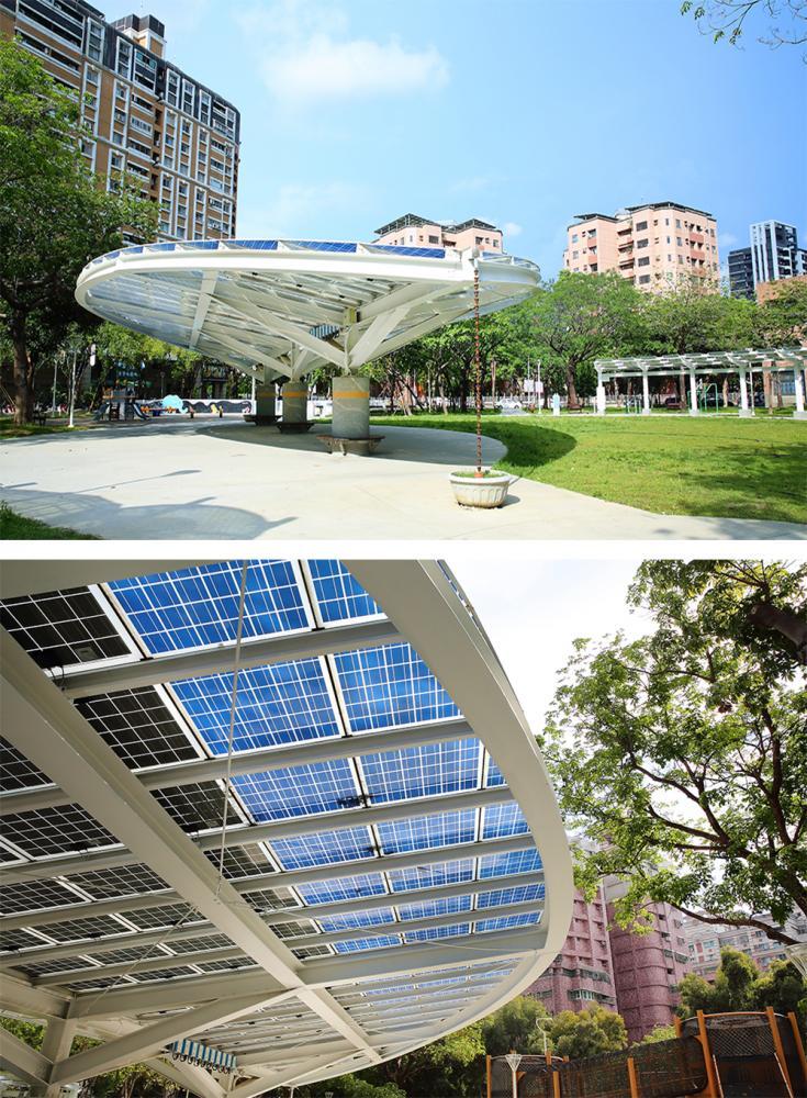 公園融入科技太陽能板裝置,節能環保又美觀,是高雄居民休憩的好去處。(攝影/Carter)