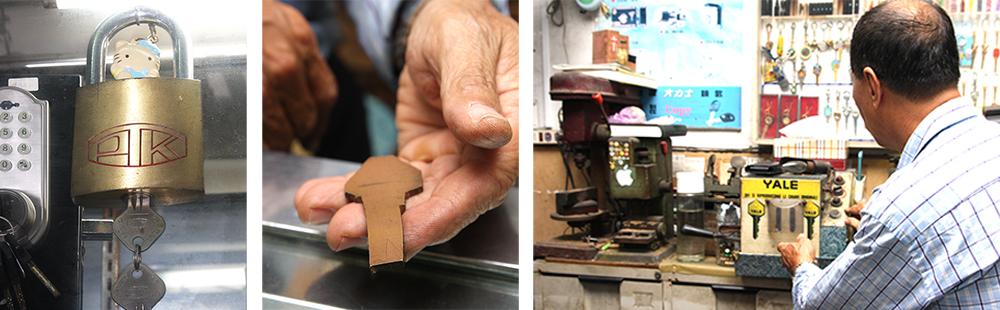 (左)黃振義自行設計、申請專利的巨無霸U盤金屬鎖。(中)黃振義可以打樣出各式配鎖交付給客人。 (右) 在加工出口區興盛的年代,上百副鑰匙的任務都交給這台義大利進口的自動配鎖機。