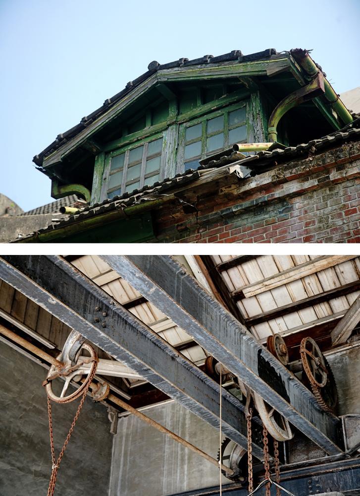 (上)竹寮取水站站長室如同小閣樓矗立建築之上。(下)屋樑上的維修天車軌道難得一見。(註:不對外開放)