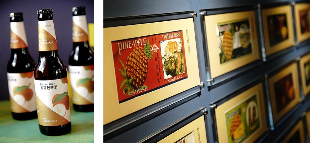 (左)大樹盛產玉荷包釀成玉荷包啤酒。(右)罐頭標籤以蒙太奇的拼貼展示。