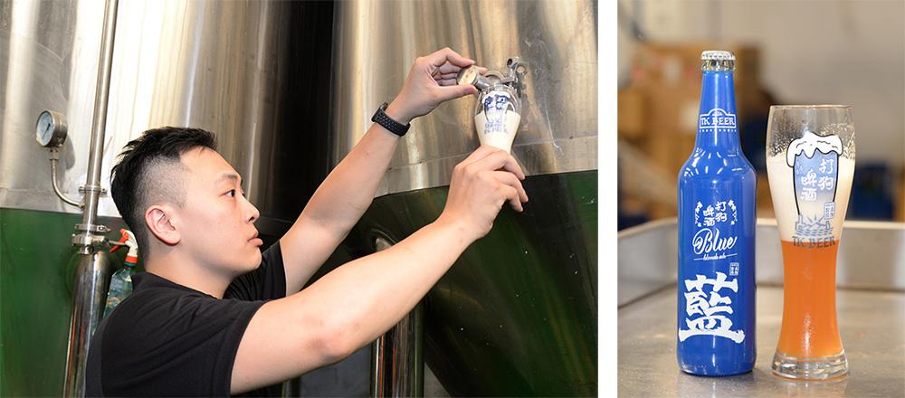(左)呂孟寰希望能透過打狗啤酒,讓國人對生啤酒有更進一步接觸。(右)呂孟寰推薦大家,吃炸物時適合搭藍瓶。