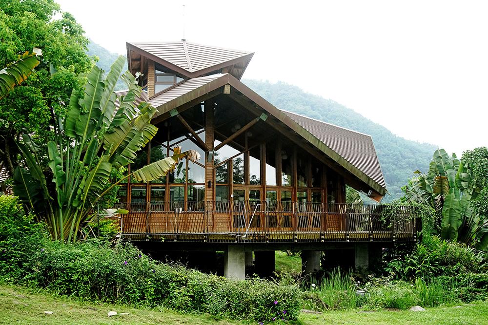 曼陀羅花造型設計的圖書館。